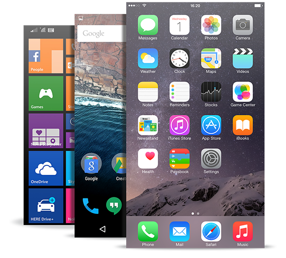 Home screens of iOS Android and Windows Phones