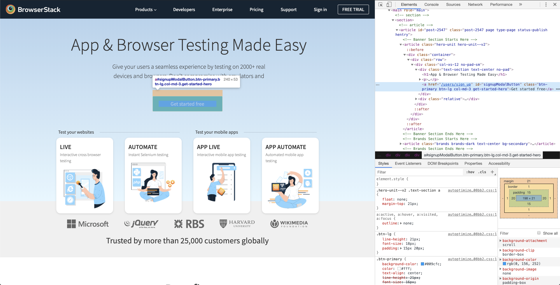 BrowserStack homepage with developer tools