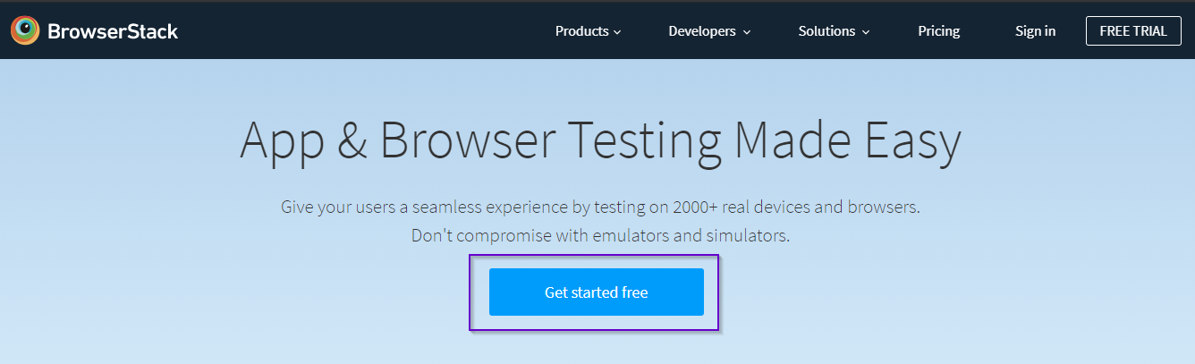 BrowserStack Home Page