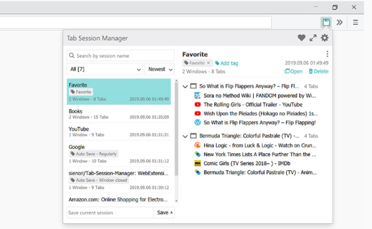 Chrome Extension - Session Manager