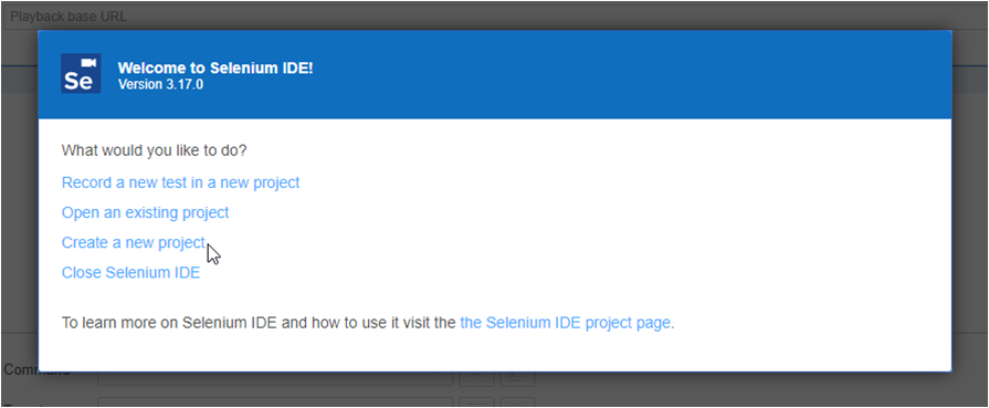 Create New Project in Selenium IDE